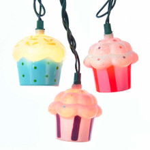 "This Kurt Adler UL 10-Light Plastic Cupcake Light Set is a fun, festive way to add to the lighting of your holiday or theme party! Each of the 10 lights in this indoor/outdoor set has a colorful, adorable cupcake design. Each cupcake measures about 2"" in width and between 2""-2.25"" in height. Each set has a 30"" green lead wire, 12"" spacing, clear bulbs, 4 spare bulbs, and 1 replacement fuse."