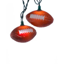 """This Kurt Adler 10-Light ftball Light Set is a fun, unique way to add to the lighting of your holiday or theme party decoration! Each of the 10 lights on this novelty indoor/outdoor light set features a wonderfully detailed brown and white-laced ftball design. Each ftball measures about 4"""" in length and 2"""" in width. Each set has a 30"""" lead wire, 12"""" spacing, green wire, clear bulbs, 4 spare bulbs, and 1 spare fuse."""