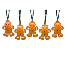 """This Kurt Adler 10-Light Gingerbread Light Set is a fun, festive way to add to the lighting of your holiday decoration. Each of the 10 lights in this novelty indoor/outdoor light set features an adorably decorated gingerbread man. Each gingerbread man measures about 3.5"""" in height, 2.5"""" across, and .75"""" in depth. Each set has a 30"""" lead wire, 12"""" spacing, 4 spare bulbs, 1 spare fuse."""