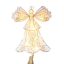 This Kurt Adler UL 10-Light 10-in Metal Reflector Angel Treetop is a fun and festive addition to your Christmas tree decoration. This treetop has a gold outline of an angel with a clear backlight. Attaches easily to the top of your tree with Its gold metal coil base. Includes 24-in lead wire.