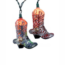 """This Kurt Adler 10-Light Boots with Glitter Light Set is a fun, unique way to add to the lighting of your holiday or theme party decoration! This novelty item features intricately designed glittery cowboy boots in alternating colors of green/red/purple and red/blue/orange. This indoor-only set comes with 10 lights, a 30"""" lead wire, 12"""" spacing, green wire, clear long bulbs, 4 spare bulbs, and 2 spare fuse."""