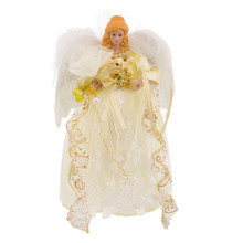"This Kurt Adler 12"" LED Angel Treetop is a beautiful addition to any Christmas tree decoration. This blonde angel stands beautifully in her white gold embroidered dress. Her feather like angel wings and color-changing LED lighting is sure to make your Christmas tree stand out."