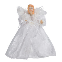 "This Kurt Adler 10-Light 9"" White Angel Treetop is a beautiful, classic way to accent your Christmas tree. Dressed in a long, white dress adorned with feathery white detailing, this angel has white wings, long hair, and light up (indoor-use only)."