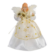 "This Kurt Adler 10-Light 9"" Ivory and Gold Angel Treetop is a beautiful, classic way to accent your Christmas tree. Dressed in a long, ivory dress adorned with gold trimming and detailing, this angel has white feathery wings, long hair, and lights up. This tree topper is for indoor-use only."