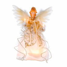 "This Kurt Adler 12"" 10-Light Ivory and Gold Angel Treetop is a beautiful, classic way to accent your Christmas tree. Dressed in a long, ivory dress adorned with gold trimming and detailing, this angel has white feathery wings, long curly blonde hair, and is holding two light up candles."
