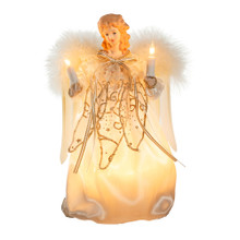 "This Kurt Adler 9"" 10-light Ivory and Gold Angel Treetop is a beautiful, classic way to accent your Christmas tree. Dressed in a long, ivory dress adorned with gold trimming and detailing, this angel has white feathery wings, long hair, and is holding two light up candles. This tree topper comes with four spare bulbs and 1 spare fuse."