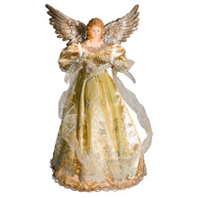 "This Kurt Adler 16"" Platinum Angel Treetop is a beautiful, dramatic way to accent your Christmas tree. Dressed in a long, platinum gown accented by ivory lace detailing in the overlay and ribbons, this angel has two, high silver wings, and is holding two light-up candles to really make your tree glow."