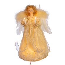 "This Kurt Adler 12"" UL 10-Light Ivory Angel Treetop is a beautiful, classic way to add to the lighting and decoration of your Christmas tree. With long, realistic fabric hair, this angel is wearing a wonderfully detailed ivory gown, large feathered wings, and is holding two light-up candles. For indoor use only, this treetop has a 30"" lead wire, white spacing wire, 4 spare bulbs, and 1 spare fuse."