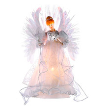 "Add to the lighting and decoration of your Christmas tree with this 14"" Multi Fiberoptic Angel Treetop by Kurt Adler. Sure to be the focal point of your tree, this beautiful angel is wearing an intricately embellished ivory gown, and is framed by large, multi-Colored wings that are illuminated by fiberoptics for a shimmering, unique look."