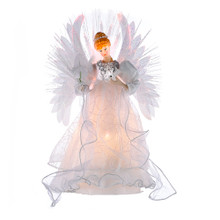 This Kurt Adler multi-color fiber-optic LED angel tree top is a beautiful way to accent the lighting on your Christmas tree. Dressed in an ivory gown this angel has two large feather wings and lights up with fiber-optic effects.