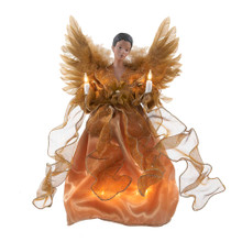 This Kurt Adler 13-in UL 10 Light Gold African American Angel Treetop is a fun and festive way to add to your holiday decoration. This angel is wearing an elegant gold wedding-dress like gown. Her dress has 4 gold ribbons coming down from the waist. Her wings are as gold as her dress and resemble traditional feather- like angel wings. To complete the Christmas theme she holds a candlestick in each hand.