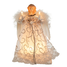 "Add to the lighting and decoration of your Christmas tree with Kurt Adler's white and silver angel treetop. This beautiful 9"" angel is dressed in a snow-white gown with silver accents. She is lighted from within her dress and her candles. This is sure to be the perfect finishing touch to any tree."