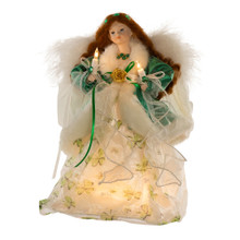 "This Kurt Adler UL 10-Light 12"" Irish Angel Treetop is a beautifully classic way to accent the lighting on your Christmas tree. Dressed in an elegant ivory and gold shamrock-printed gown, this red-headed angel keeps warm in a luxe emerald green velvet coat and delicately holds a lit candle in each hand. A pair of white feather wings are found on her back, and ribbons stream and curl down her length. Powered by 12V 0.09A bulbs, she will proudly glow atop your tree making her the perfect Irish accent for the holidays. This tree top includes a 36"" lead wire, 5 spare bulbs, and one 3-amp spare fuse. For indoor use only."
