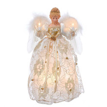 "This Kurt Adler UL 10-Light 12"" Ivory and Gold Angel Treetop is a beautifully classic way to accent the lighting on your Christmas tree. Dressed in an elegant ivory and gold lace gown, this blonde angel is backed by two white feather wings while delicately holding lit candles in each hand. Powered by 12V 0.09A bulbs, she will proudly glow atop your tree making her a perfect accent for the holidays. This tree top includes a 36"" lead wire, 5 spare bulbs, and one 3-amp spare fuse. For indoor use only."