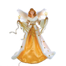 "This Kurt Adler 10-Light 16"" Cream and Gold Angel Treetop is a beautifully classic way to accent the lighting on your Christmas tree. Dressed in an elegant cream and gold gown with a fur-trimmed skirt, this red-headed angel is backed by two white feather wings while delicately holding lit candles in each hand. Powered by 12V 0.09A bulbs, she will proudly glow atop your tree making her a perfect accent for the holidays. This tree top includes a 36"" lead wire and 5 spare bulbs. For indoor use only."