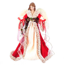 Add the perfect finishing touch to your holiday decoration with this UL 10-Light 16-in Red and Ivory Angel Treetop from Kurt Adler. This beautiful angel is wearing a bright red gown with ivory detailing, with matching ivory feather wings. Pre-lit by 10 UL-approved lights, his piece has a 36-in lead wire, and comes with 5 spare bulbs and 1 spare fuse. For indoor use only.
