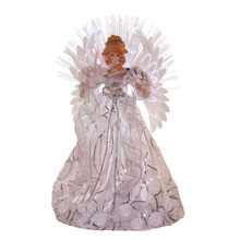 This Kurt Adler white and silver fiber-optic angel treetop is a beautiful way to accent the lighting on your Christmas tree. The angel is dressed in a long white gown with silver accents, she is surrounded by a multi-color fiber-optic effect.