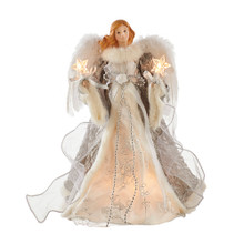 This Kurt Adler Silver and Gray Angel Treetop is a beautifully classic way to decorate your Christmas tree. Dressed in a long white gown with silver and grey detailing and embroidery, this blonde angel has sequin and large feather wings and is holding two light-up stars in her hands. She is a lovely finishing touch to any Christmas tree!