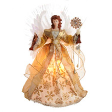 This 18-in Fiber Optic Gold Angel Treetop from Kurt Adler is a fun and festive addition to your Christmas tree decoration. This angel looks beautiful in her gold gown with a glittered snowflake pattern. She holds a candle and a gold decorated snowflake in her left had. It boasts 7 color changing LED lights, a 30-in lead wire, a plastic cone on the bottom to attach to the tree and includes an adaptor. Her fiber-optic color-changing angel wings and the pearl and sequined accents sets her apart from all other angels.