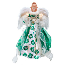 This 16-in 10-Light Irish Angel Treetop from Kurt Adler is a beautiful and unique addition to your Christmas tree decoration. This angel is wearing a beautiful green and white gown with green shamrock detailing. She is holding a lighted star in each hand and she has beautiful feathered wings. She boasts 10 clear incandescent bulbs, a 30-in lead wire, a plastic cone on the bottom to attach to the tree and includes an adaptor.