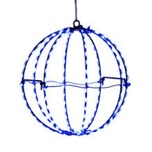 Add some light to any holiday decoration with Kurt Adler 8-in Blue LED Foldable Metal Sphere. This light sphere features 8 wire spokes with 20 lights each for a total of 160 lights. Each light gives a blue glow sure to brighten up any holiday decoration.