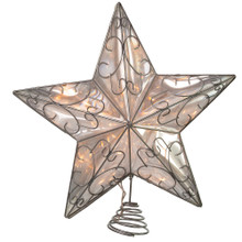 This Snowfall 5-Point Silver Wire Star Treetop is a beautiful, simple way to accent your Christmas tree. With UL outdoor approval, this silver star is crafted from wire and ornately designed with heart-and-vine-like patterns throughout, and rests on a silver coil to which the tree topper attaches to the tree.