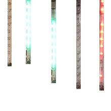 "This Kurt Adler 7"" 5-Light Multi Snowfall Outdoor Light Set gives off a fun illusion of having colorful snow fall down outdoors year-round! Each light looks as if it ""falling"" down like a snowflake. This set comes with an adaptor and has 20 LED chips in each tube, with 54"" spacing between each tube."