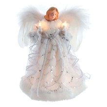 This 12-in 10-Light White Angel Treetop from Kurt Adler is a lovely way to top off your Christmas tree. This beautiful angel is wearing a white gown with white fur trim and silver sequined accents. She is holding lighted candles in both hands and has beautiful feathered wings. She boasts 10 clear incandescent bulbs and a 30-in lead wire. This angel is a perfect addition to any Christmas decor.