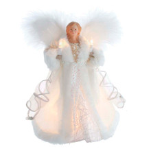 This 10-in UL 10-Light White Angel Treetop from Kurt Adler is a lovely way to top off your Christmas tree. This beautiful angel is wearing a white gown with white fur trim and white ribbon accents. She is holding lighted candles in both hands and has beautiful feathered wings. She boasts 10 clear incandescent bulbs and a 30-in lead wire. This angel is a perfect addition to any Christmas decor!