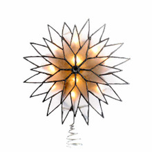 "This Kurt Adler 9"" Silver Sunburst Capiz Lighted Treetop is a beautiful, festive way to add to the lighting and decoration of your Christmas tree. With a multi-pointed design and a silver glittered finish, each lighted treetop has a 5' lead wire, 4 spare bulbs, and 2 spare fuses."