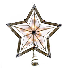 "This Kurt Adler 10"" 5-Point Large Star with Smoke Capiz Treetop is a beautiful, classic way to accent the lighting on your Christmas tree. Accented with a 2"" thick gold paint finish, this tree topper is ornately made, with a smoky star with a larger bare structural star placed over it, and comes with 4 spare bulbs and 2 spare fuses."