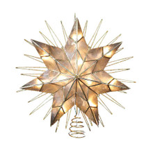 "This 14"" 7-Point Natural Capiz Star Lighted Treetop by Kurt Adler is a beautiful, classic way to accent the lighting and decoration of your Christmas tree. Featuring a large 7-point star design framed by several surrounding wire ray accents, this bright star has a glittery gold-plated finish. Includes 4 spare bulbs and 2 spare fuses."