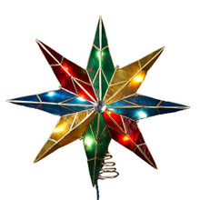 Add some light and color to your Christmas tree with his 10-Light 16.5-in Capiz Multi Star Treetop by Kurt Adler. Featuring bold, multi-Colored points framed by a thick brass gold-plated finish this treetop is sure to be the focal point of your Christmas tree. Includes 4 spare bulbs and 2 spare fuses.