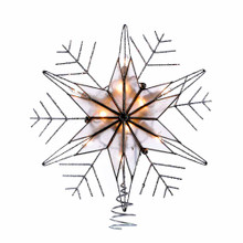 This Kurt Adler 10 Light 10-in Capiz and Wire Snowflakes with glitter treetop is a fun and festive addition to your Christmas tree decoration. The inside of the treetop shines brightly and extends out into glittery snowflake branches creating a star and snowflake treetop combination. This treetop includes 4 spare bulbs and 2 spare fuses.