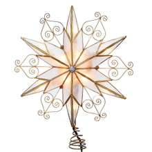 Add the finishing touch to your Christmas tree with this 10-Light 6-Point Capiz Star Treetop with Scroll Design from Kurt Adler. This 6-point star has a capiz finish accented with gold scroll detailing. Includes 4 spare bulbs and 2 fuses.