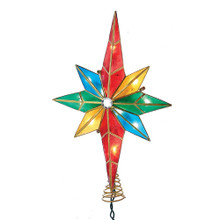 This Kurt Adler 10-Light MultiColored Capiz Bethlehem Star Treetop with Gem Center is a beautiful, classic way to add to the lighting of your Christmas tree. With a bright multiColored design, this 8-point star is gridded in gold wire and has a shining rhinestone gem at Its center. Each indoor-only treetop uses 12V 0.08A 9.6W 22AWG bulbs and comes with 4 spare bulbs and 2 spare fuses.