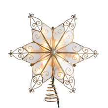 Add the perfect finishing touch to your Christmas tree with this 10-Light 6-Point Capiz Star Treetop from Kurt Adler. Its beautiful 6-point star design features a pearl accent and a brass plate finish. The star measures 9.06 in tall and 9.06 in wide. Each treetop includes 4 spare bulbs and 2 spare fuses.