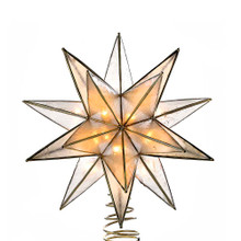 This Kurt Adler UL 10-light 15-point gold capiz star treetop is a beautiful, ornate way to decorate your Christmas tree. This lighted star is embellished with gold wire design and a twisted wire base. Its gold finishing adds to the star's classic look.