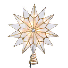 This Kurt Adler 7-point double tip capiz star treetop is a beautiful and unique addition to your Christmas tree decoration. This star is embellished with a clear gem center and a twisted wire base.