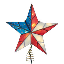 This Kurt Adler Capiz American Flag inspired design star tree top is a beautiful and patriotic addition to your Christmas tree decoration. Featuring a 5-point capiz star in red, white and blue.