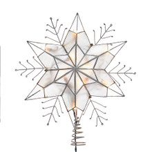This Kurt Adler snowflake star tree top with clear lights is a beautiful, classic way to add to the lighting of your Christmas tree. The metal and plastic design features a capiz 6-point star that reveals a silver wire snowflake design. This treetop measures about 12.8-in in length and 14-in in height.