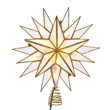 This Kurt Adler 10-Light Gold Capiz Star Treetop is a beautiful, classic way to accent the decoration and lighting of your Christmas tree. Features a beautiful multi-pointed design complete with glitter edging and twisted wireworks.