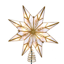 This Kurt Adler 9-in 10-Light 8-Point Gold Capiz Star Treetop is a beautiful and unique addition to your Christmas tree decoration. This 8-point star features gold glitter and gold edge detailing.