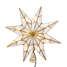 This Kurt Adler 10-Light 8-Point Gold Capiz Star Treetop is a beautiful and unique addition to your Christmas tree decoration. This 8-point star features gold glitter and gold edge detailing.