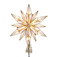 This Kurt Adler 10-Light 12-Point Capiz Star and Center Gem Treetop is a beautiful and unique addition to your Christmas tree decoration. This 12-point star is embellished with a clear gem center and a twisted wire base.