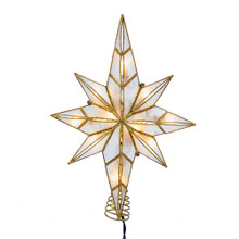 This Kurt Adler 10-Light 11.4-in Capiz Bethlehem Star Treetop is a beautiful, classic way to accent the decoration and lighting of your Christmas tree. Features a beautiful Star of Bethlehem design complete with twisted wireworks and a gold glitter detailing within a natural brass-Colored finish.