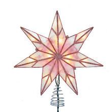 This Kurt Adler 10-Light 7-Point Pink Capiz Star Treetop is a beautiful and unique addition to your Christmas tree decoration. This 7-point star features pink capiz detailing with a pink glitter finish.