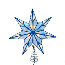 This Kurt Adler 10-Light 7-Point Blue Capiz Star Treetop is a beautiful and unique addition to your Christmas tree decoration. This 7-point star features blue capiz detailing with a blue glitter finish.
