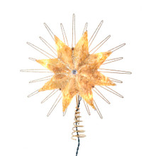 This 12-in UL 10-Light 8-Point Capiz Gold Star Treetop from Kurt Adler is a unique way to accent the lighting on your Christmas tree. Gold in color and embellished with gold glitter and a clear gemstone center, this beautiful treetop has clear bulbs that illuminate the natural capiz material. It boasts 10 clear incandescent bulbs, a 30-in lead wire and includes 4 spare bulbs and 2 spare fuses. This is a perfect addition to any holiday decor.