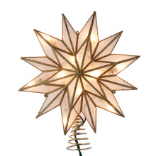 This 9.06-in UL 10-Light 12-Point Gold Capiz Star Treetop from Kurt Adler is a unique way to accent the lighting on your Christmas tree. Gold in color and embellished with gold glitter, this beautiful treetop has clear bulbs that illuminate the natural capiz material. It boasts 10 clear incandescent bulbs, a 30-in lead wire and includes 4 spare bulbs and 2 spare fuses. This is a perfect addition to any holiday decor.